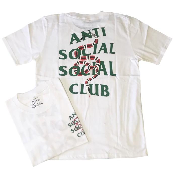 e673a8a5a46 Kaos Tshirt Hypebeast Anti Social Social Club x Gucci Snake Logo White