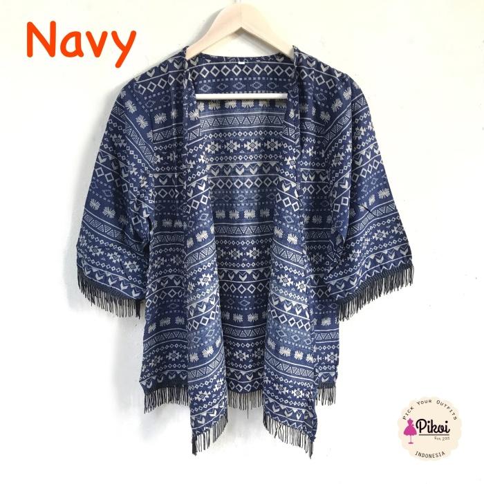 harga 506 cardigan etnik fringe / cardi rumbai navy / outer batik / outwear Tokopedia.com