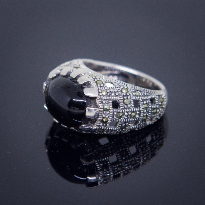 Jual Cincin Perak Unisex 925 Sterling Silver Batu Oval Black Onyx