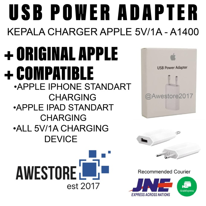 harga Original wall charger usb power adapter iphone ipod ipad mini ori Tokopedia.com