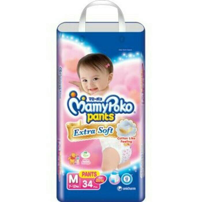mamypoko pants extra soft M 34 + 2 for girls gojek ready