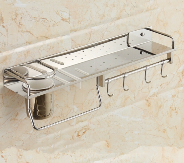 Rak dapur serbaguna stainless steel tempat bumbu pisau dinding tembok