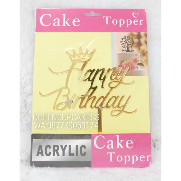 topper kue ulang tahun acrylic happy birthday gold hiasan cake