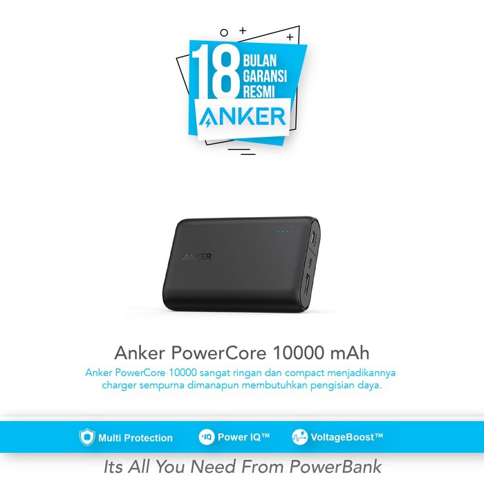 Powerbank anker powercore 10000 the smallestpowerfullhigh speed