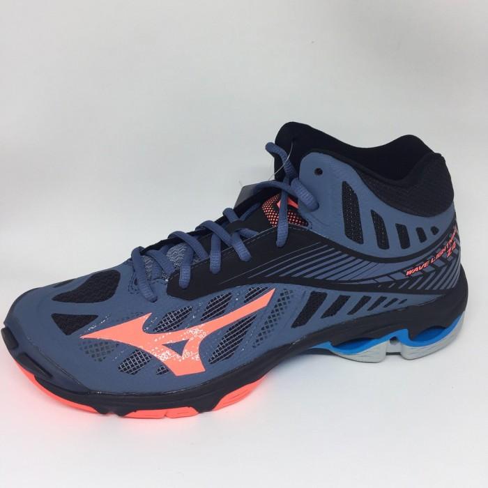 harga Sepatu volley mizuno original wave lightning z4 mid blue mirage fiery Tokopedia.com