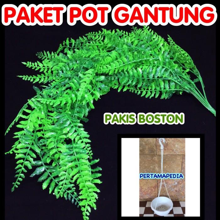 harga Paket pot gantung daun bunga artificial / daun plastik pakis boston Tokopedia.com