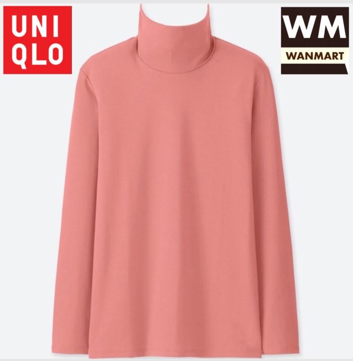 harga Uniqlo women t-shirt kaos wanita compact cotton turtle neck pink Tokopedia.com