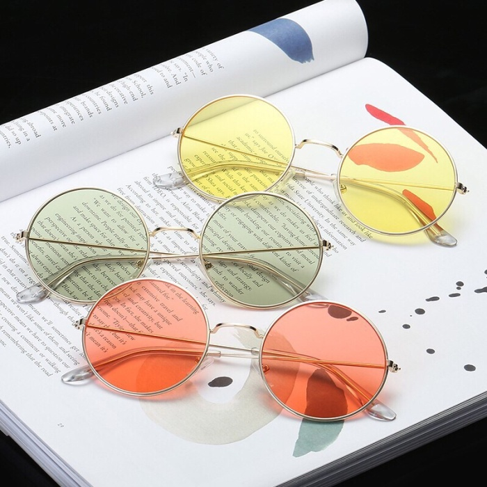 81814e5eff01 Jual Round sunglasses vintage retro eyewear yellow orange kacamata ...