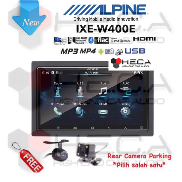 Alpine IXE-W400E Head Unit Double Din Tape Audio Mobil + Rear Camera