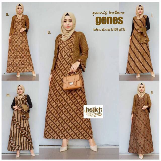 Jual Gamis Bolero Genes Gamis Batik Kerja Long Dress Batik Kantoran Terusan Kota Surakarta Zerra Batik Tokopedia