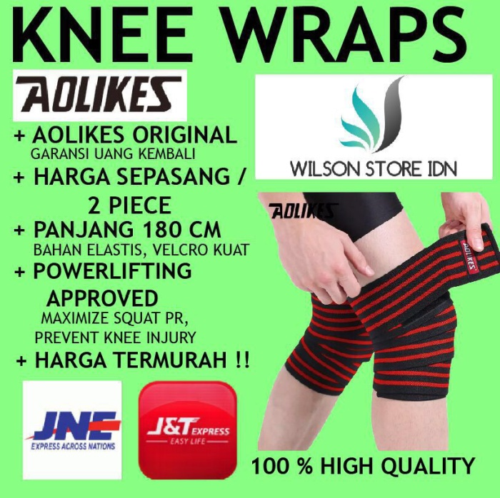 676a84b836 Jual AOLIKES Knee Wrap Wraps Strap Straps Power Lifting Fitness Gym ...