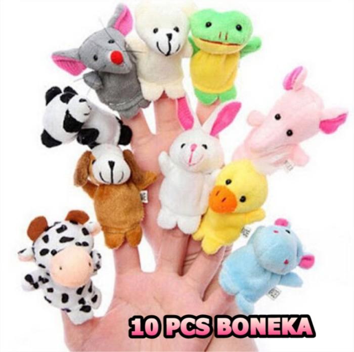 Foto Produk 10 pcs boneka tangan finger family animal puppet binatang mainan bayi dari Mamia Sale