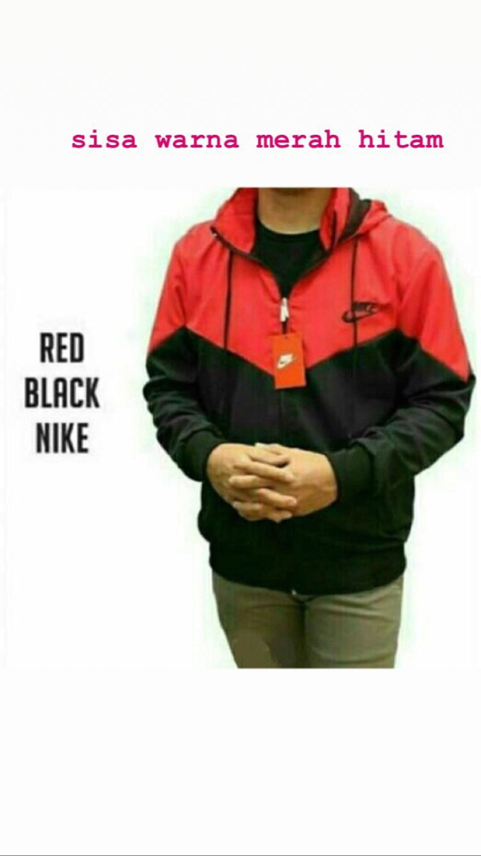 Jual Jaket Parasut Nike Red Black Perlengkapan Muslimah27 Hitam