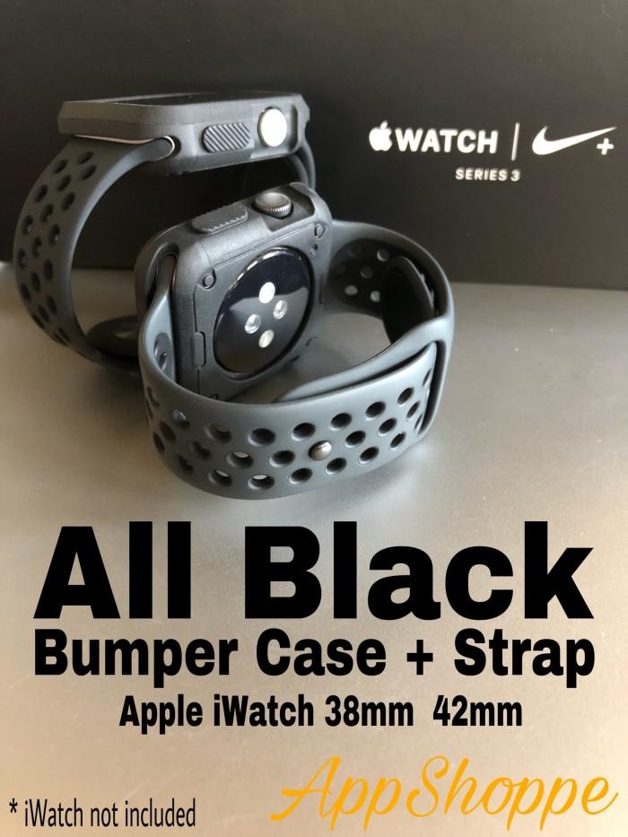 Foto Produk Apple Watch Strap iWatch 38 42mm NIKE DESIGN BUMPER + STRAP ALL BLACK dari AppShoppe