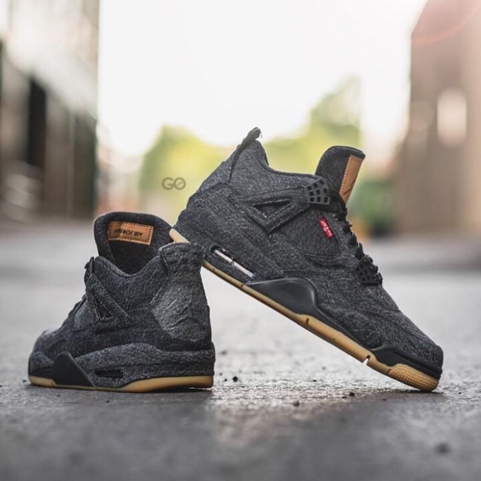 729265e98b2c Jual NIKE AIR JORDAN 4 RETRO LEVIS BLACK - AyanaSneakers
