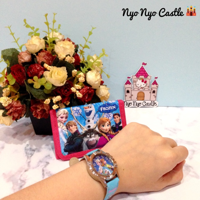 Set jam tangan + dompet anak - anak frozen (anna elsa)