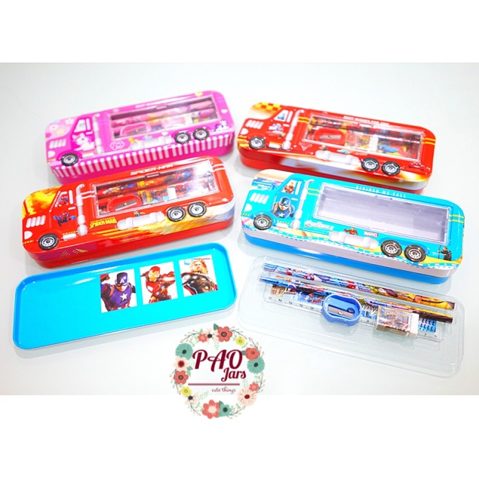 tempat pensil set - kotak pensil karakter spiderman - cars - doraemon