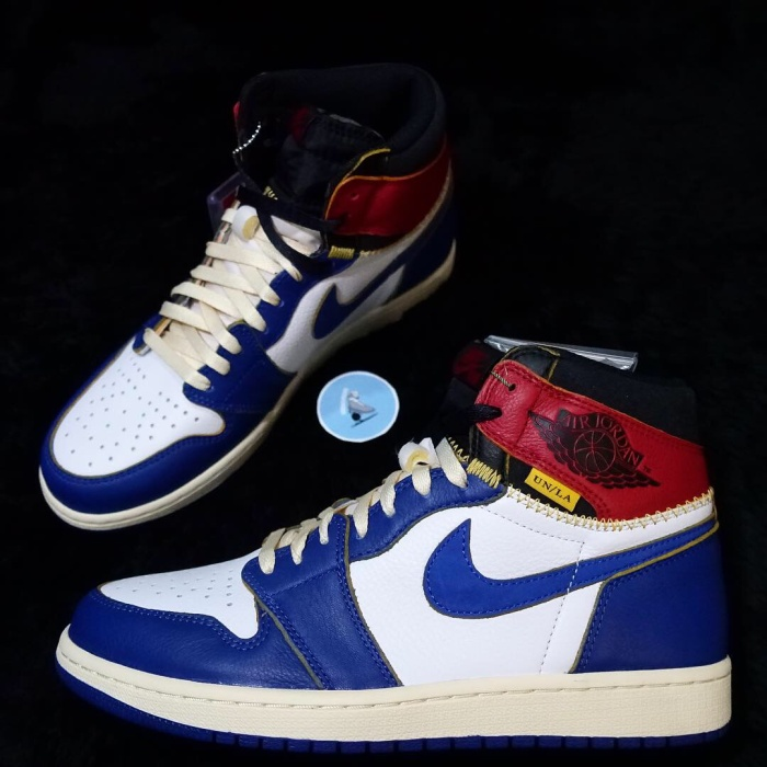 9d43f4168db Jual Nike Air Jordan 1 High Union Los Angeles LA Blue Toe Storm 100 ...