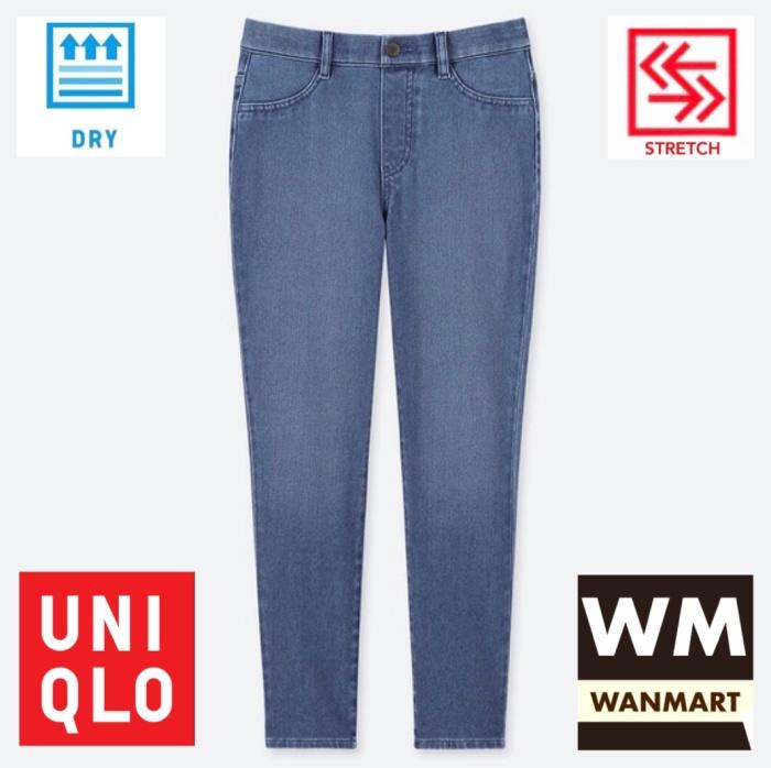 Jual Uniqlo Women Pants Celana Legging Crop Wanita Ultra Stretch Denim Blue Kota Depok Wan Mart Tokopedia