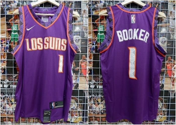 822f5182ec0 Jual Jersey Basket NBA Los Suns City Edition Ungu Devin Booker 2018 ...