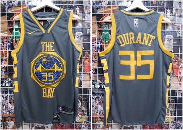 df08d6e2f Jersey Basket NBA GSW The Bay City Edition Abu Kevin Durant 2018 2019