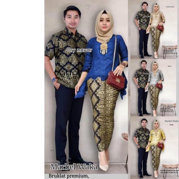 Batik Couple Batik Sarimbit Kebaya Brokat Marbel Waka