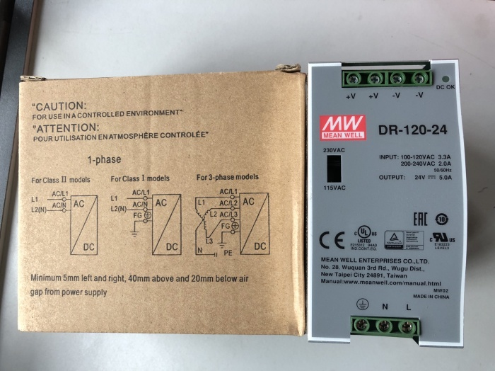 Mean Well DR-120-24 AC to DC DIN-Rail Power Supply 24 Volt 5 Amp 120 Watt