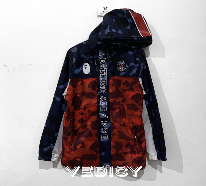 f57707ed Jual HOODIE JAKET BAPE x PSG LONG DOWN JACKET NAVY SUPER MIRROR 1:1 ...