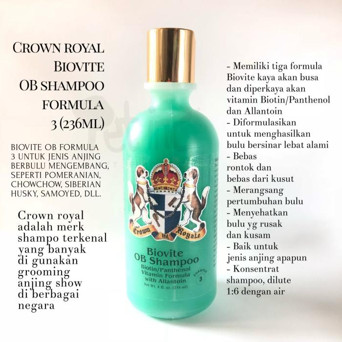 Jual Pet dog shampoo Crown royal Biovite OB shampoo 3 -236ml - Kota  Sukabumi - Pet8inc   Tokopedia