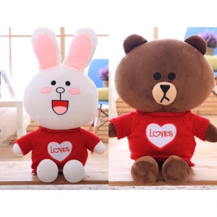 Jual Boneka Line Brown dan Cony Import Red Sweater ... 430cd5dc46