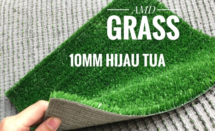 rumput sintetis/palsu tinggi 10mm hijau tua
