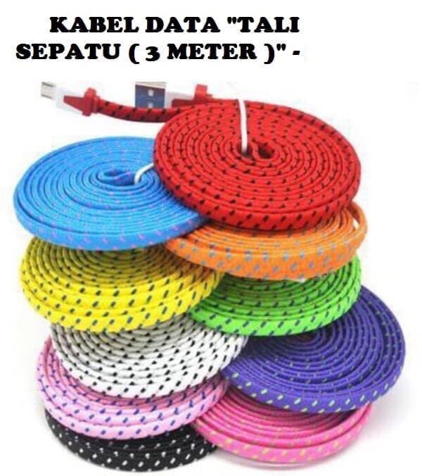 Foto Produk KABEL DATA TALI SEPATU 3M MICRO USB TALI CHARGER GEPENG CABLE HP dari LNA ACC