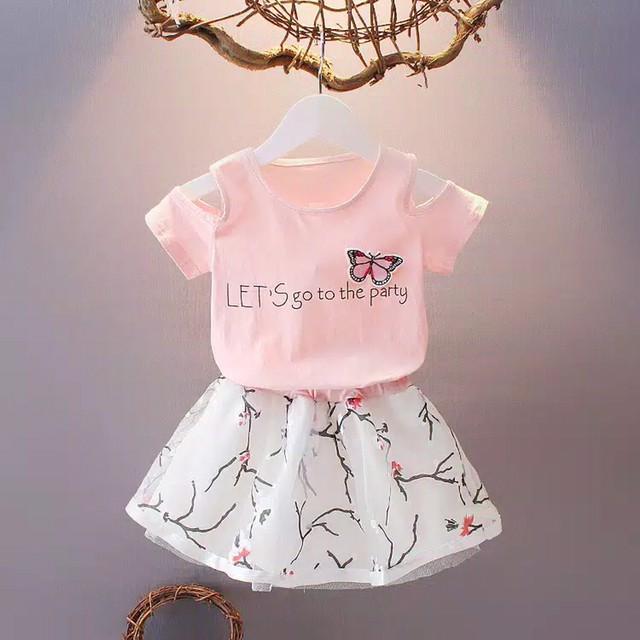 Foto Produk Baju anak perempuan print Import, 1set baju anak cewek baju&rok Import dari Minochi shop