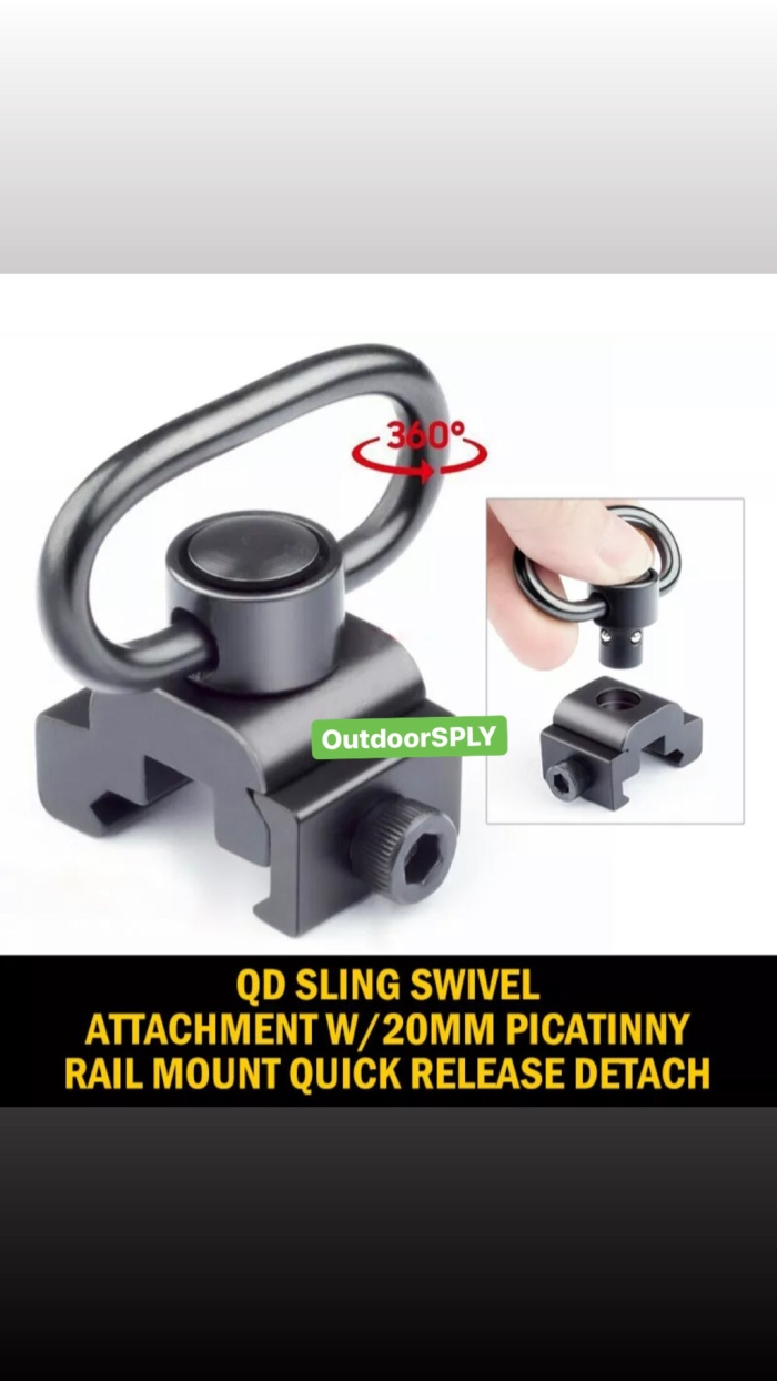 Foto Produk Quick Release Mounting QD Sling Swivel Attachment w/20mm Picatinny Rai dari OutdoorSPLY