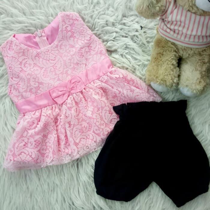 Foto Produk Peplum Sleeveless Set for Baby / Baju Dress Brukat Setelan Bayi dari Baby El Import Shop