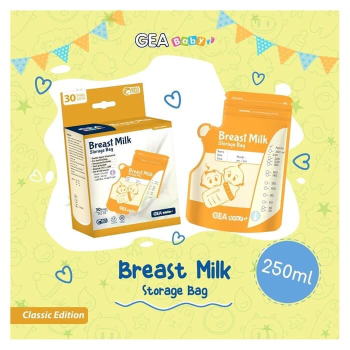 Foto Produk Kantong ASI GEA baby 250ml / Breast milk storage bag 250 ml dari Gudang Sehat Store
