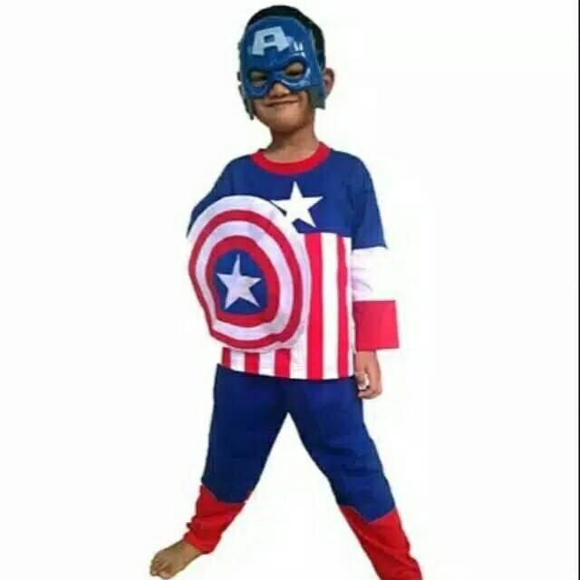 Foto Produk Kostum anak captain America+Tameng/size 4-8 dari Sun-kids