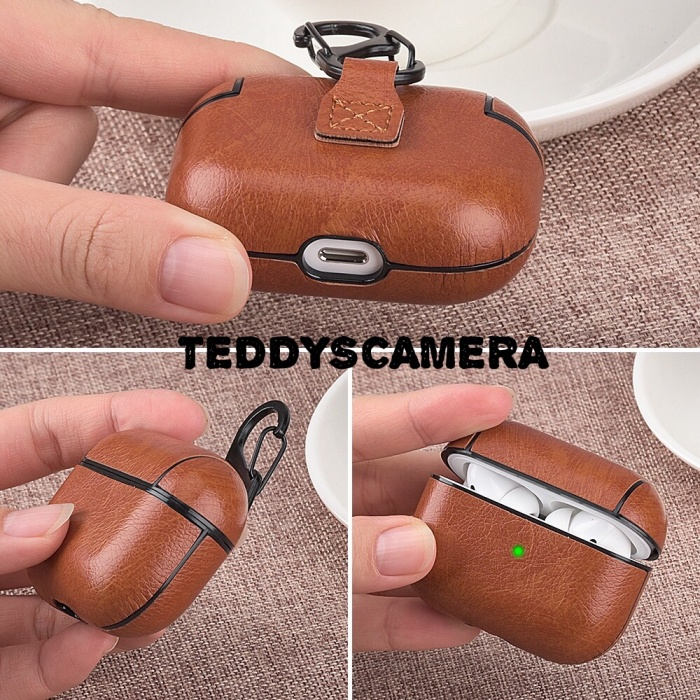Foto Produk AIRPODS PRO CASE LEATHER PU HARDCASE WITH CARABINER FULL PROTECTION dari teddyscamera