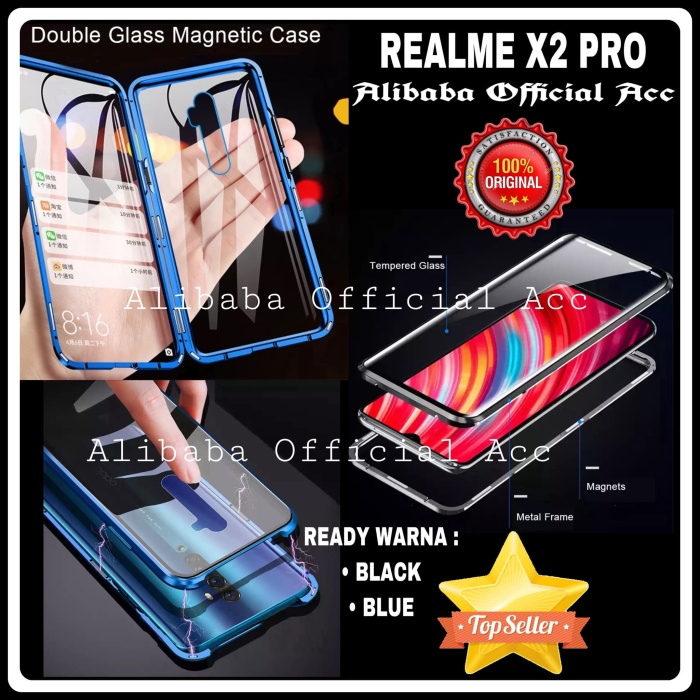 Foto Produk OPPO REALME X2 PRO LUXURY MAGNETIC FRONT+BACK GLASS HARD CASE COVER dari Alibaba Official Acc