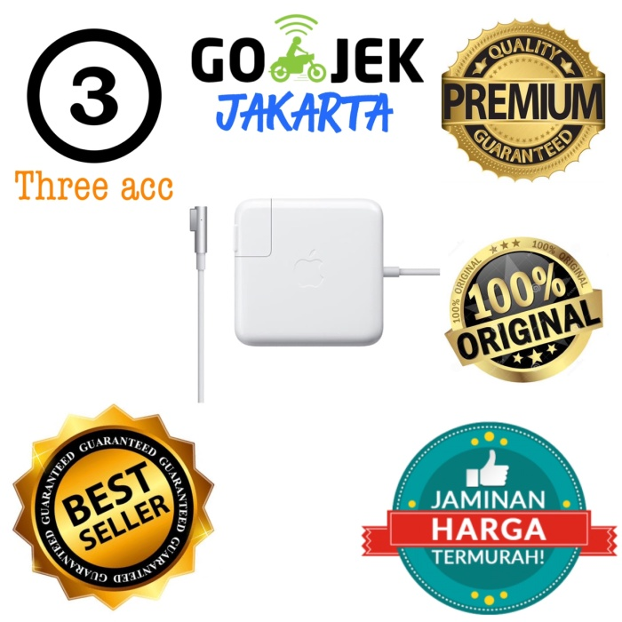 Foto Produk adaptor charger casan APPLE MACBOOK PRO 15inc 85W magsafe 1 A1343 ORI dari Three Acc