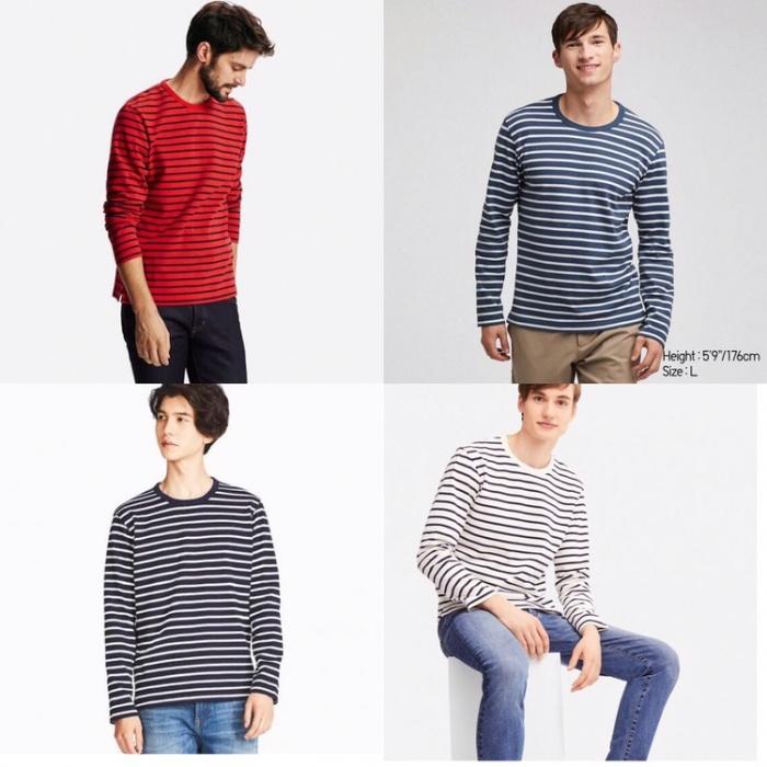 196ba5a5 Baju Uniqlo Mens Washed Striped Long Sleeve T-Shirt Original not zara