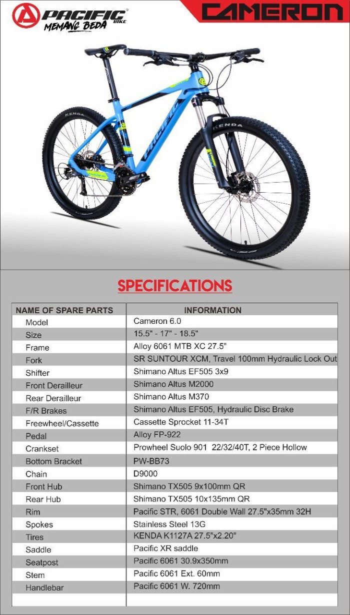 Jual Sepeda Gunung PACIFIC MTB 27.5 Cameron 6.0 - Kota Medan