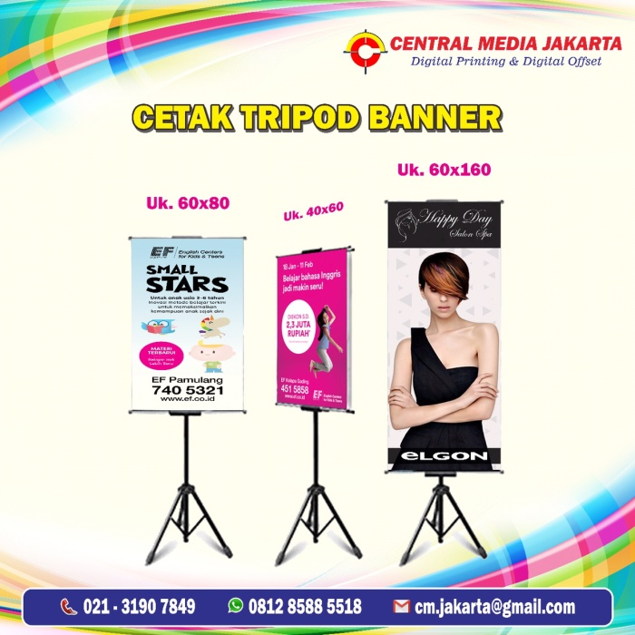 Jual Cetak Tripod Banner 60x40 Cm Standing Banner Poster Promosi Jakarta Pusat Central Media Jakarta Tokopedia