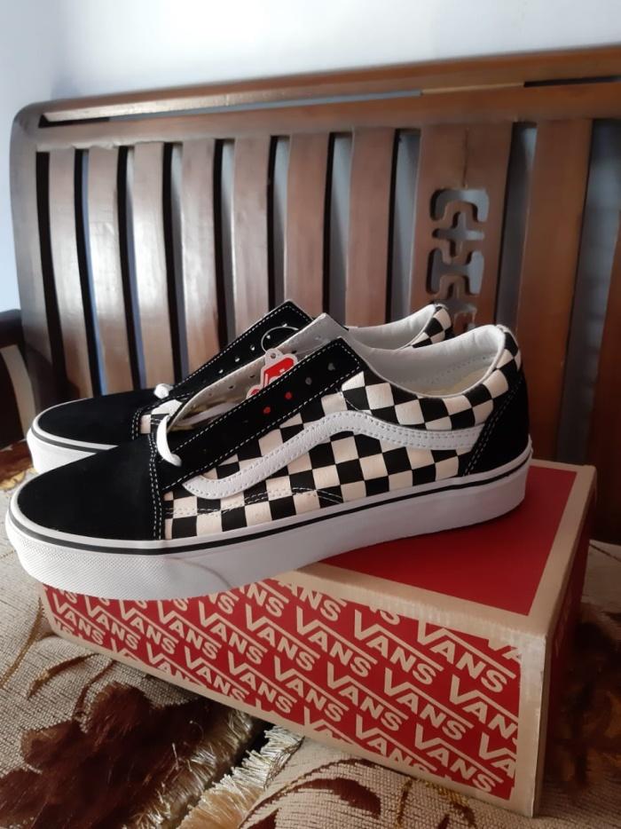 Jual Vans Old Skool Primary Checkerboard Black White Original ... e2ddaada18