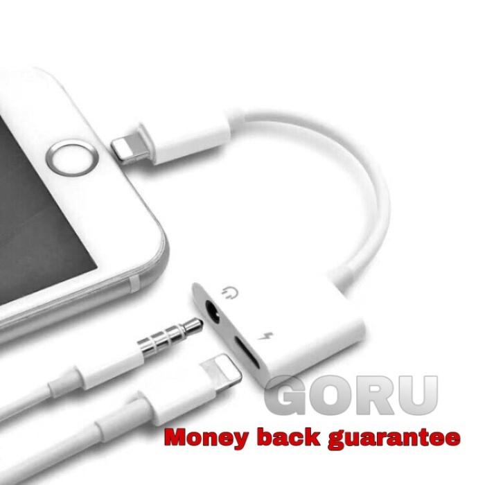 Foto Produk Dual connector converter iphone 7 8 plus Xs max lightning audio jack dari goru