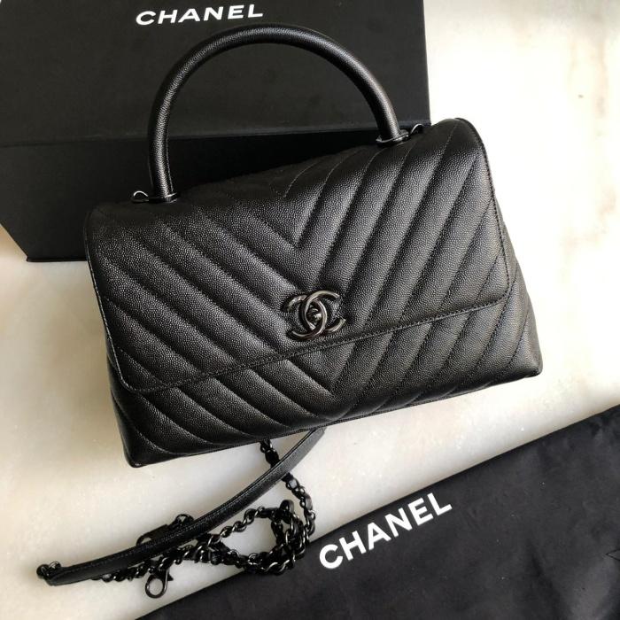 45e8918aa788 Jual Original - Chanel Coco Handle So Black Medium Chevron Caviar ...