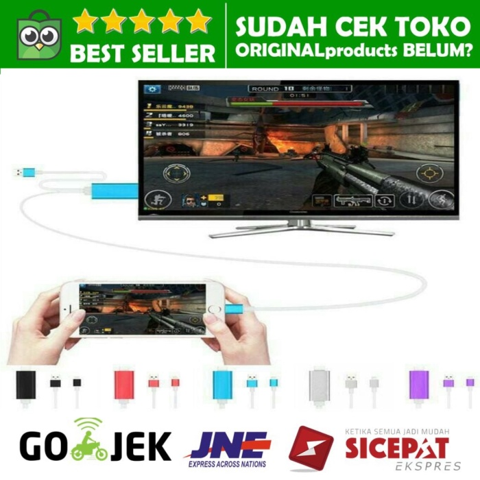 Foto Produk CONVERTER LIGHTNING TO HDMI DIGITAL TV AV LCD KABEL IPHONE IPAD MINI dari ORIGINALproducts