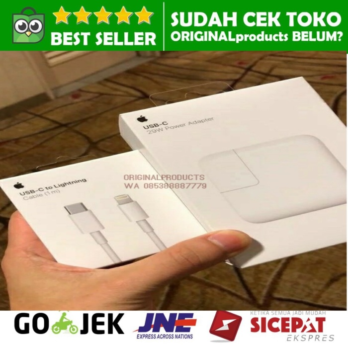 Foto Produk PAKET APPLE 29W CHARGER IPHONE X 8 + KABEL LIGHTNING TO USB C ORIGINAL dari ORIGINALproducts