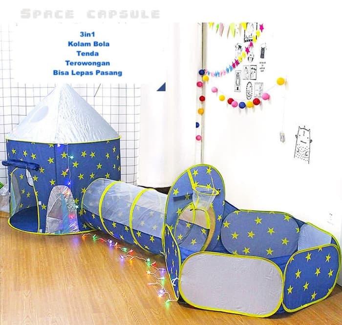 Foto Produk Kolam Bola Anak Terowongan Tenda Main Anak 3in1 - New Space Edition dari Zen Baby