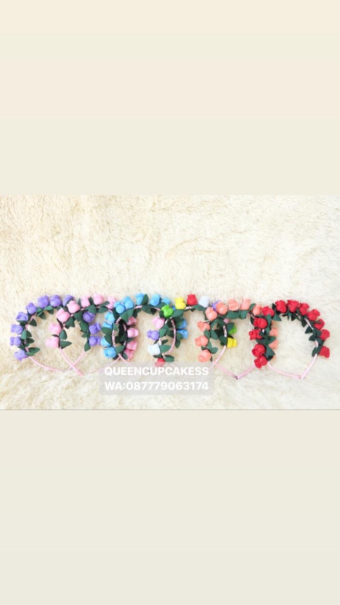 Foto Produk bando flower mini size ungu pink biru rainbow peach merah dari QUEENCUPCAKESS